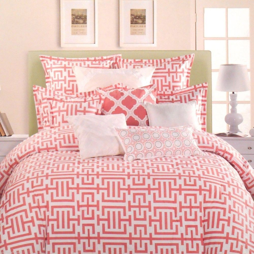 Details About Kate Spade Painted Trellis Coral Amp White 3pc