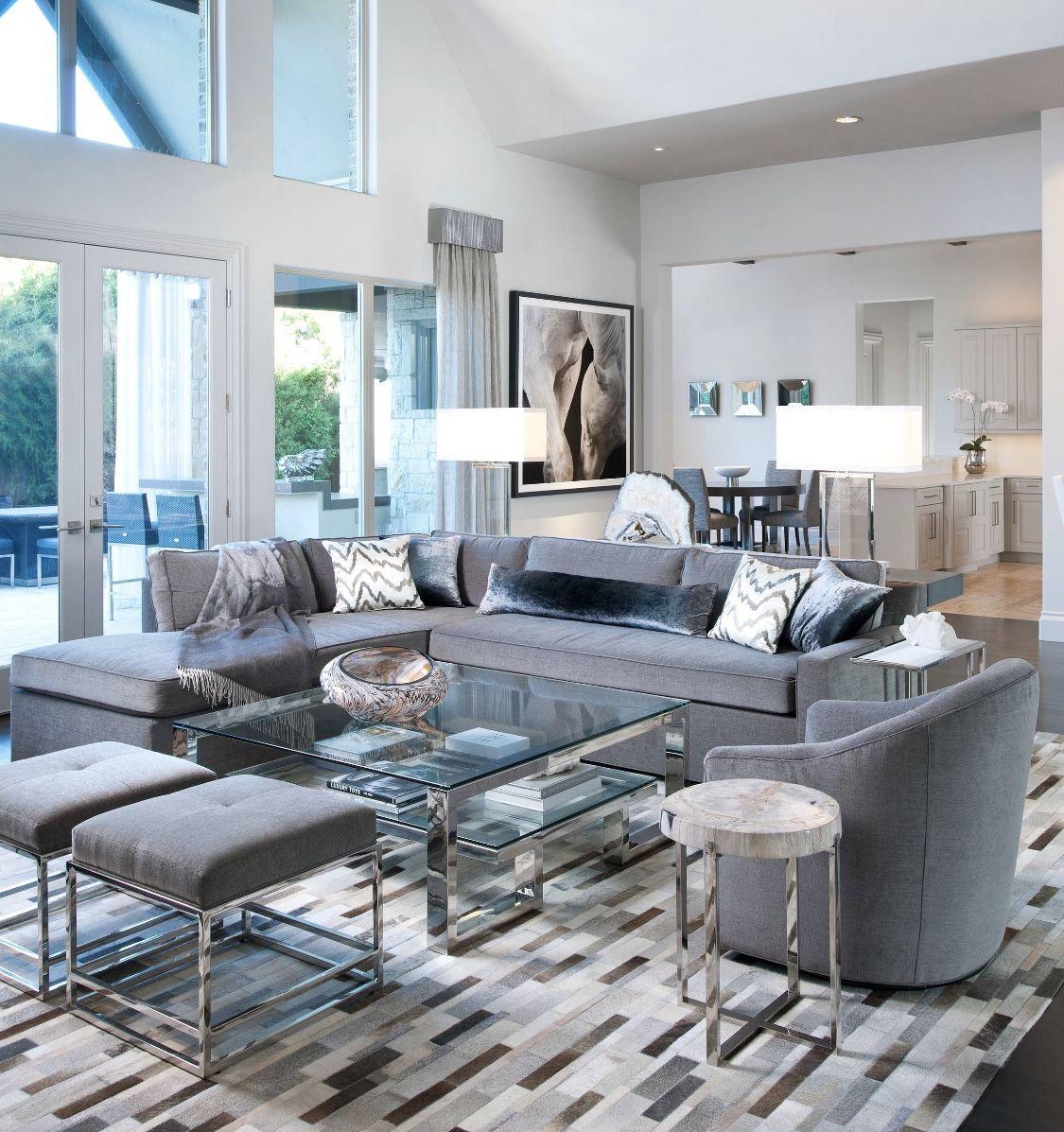Best Grey Velvet Sectional Modern Monochromatic Living Room 640 x 480