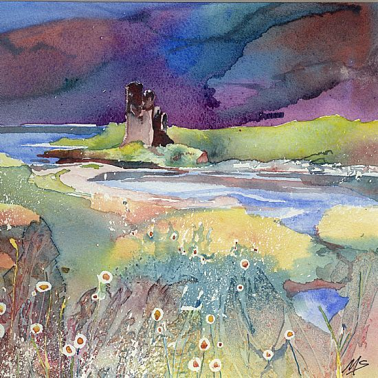 Castle Causeway Artist Gallery Watercolor Art Forest Painting