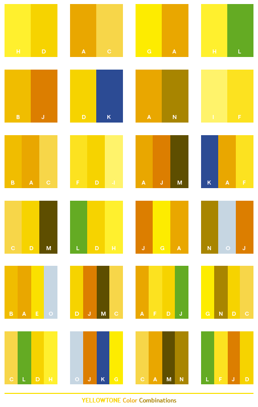 Yellow Tone Color Schemes Combinations Palettes For Print Cmyk And Web Rgb Html