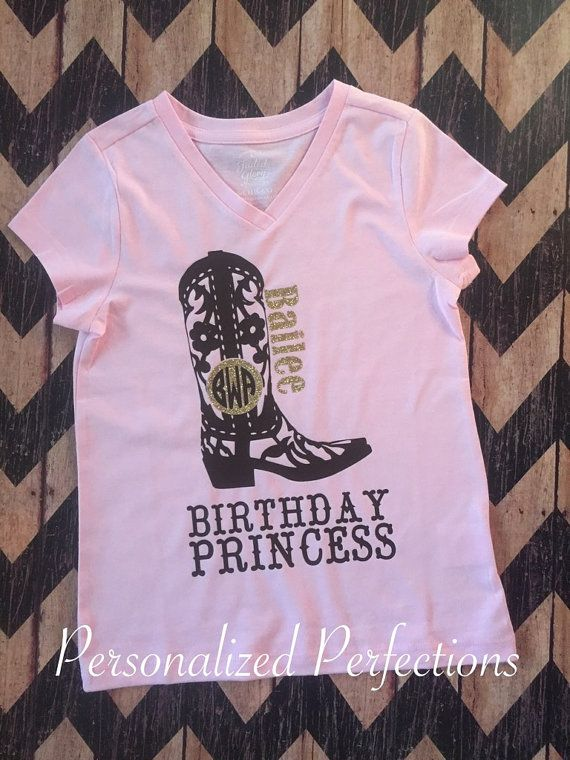 bb3b023ea78 Cowgirl Boots Birthday Girl Shirt Monogram by PersonalizedPerfect4 ...