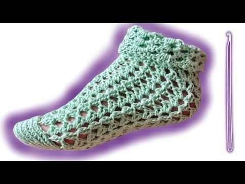 Sommer-Socken Häkelanleitung [Fortgeschrittene] - YouTube | schuhe ...