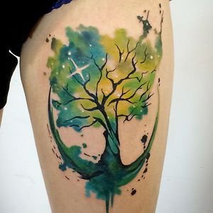 Cosmos Tree Of Life on back left hip. Sky spreads up to right shoulder. Stardust quote.