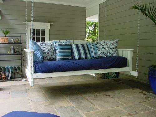Schaukel wohnzimmer ~ Coole holz schaukel blaue liege garten schaukeln