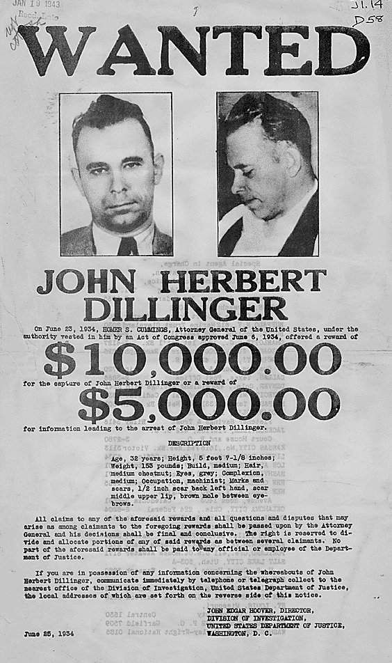 John Dillinger, was a famous American gangster in the Depression - criminal wanted poster