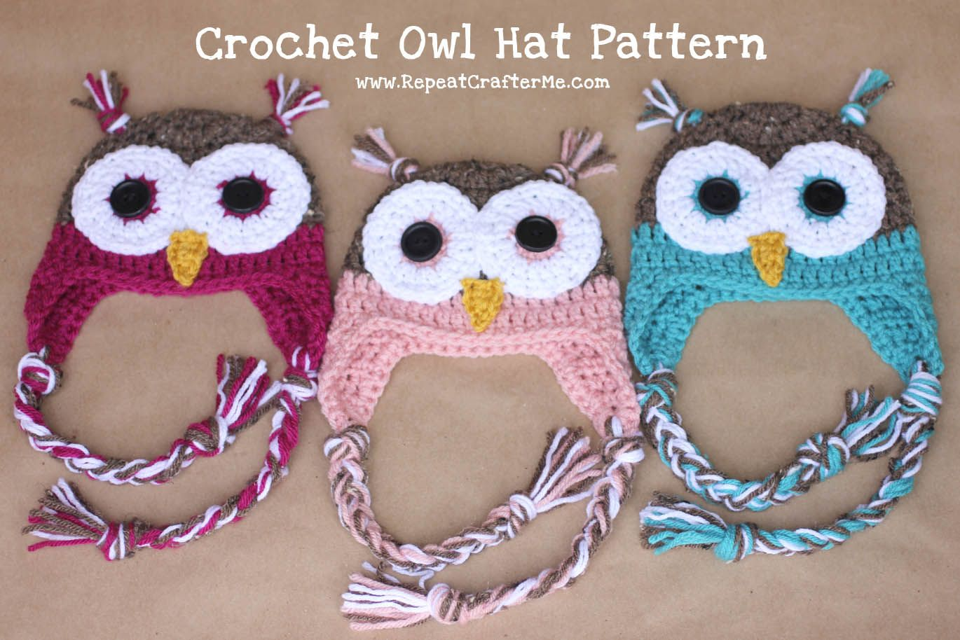 Repeat Crafter Me: Crochet Owl Hat Pattern. Newborn size (with link ...