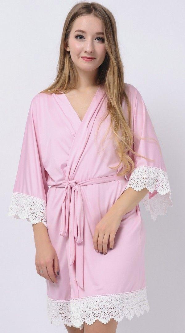 Soft Pink Stretchy Jersey Robes Bridesmaid Robes Cheap Robes Kimono ...
