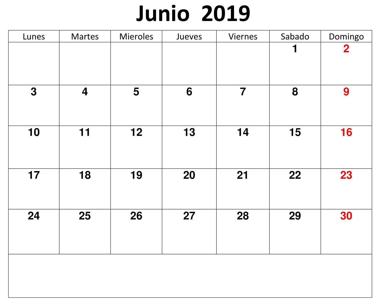 Calendario Junio 2019 Para Imprimir Pdf.Junio Calendario Formato 2019 Para Imprimir Calendario Junio 2019