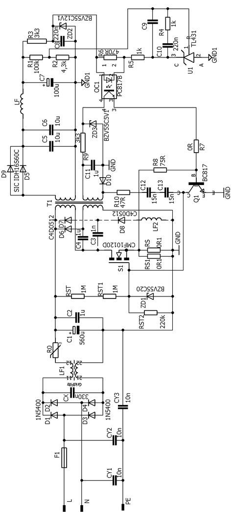 al1912 monitor smps power supply schematic circuit diagram