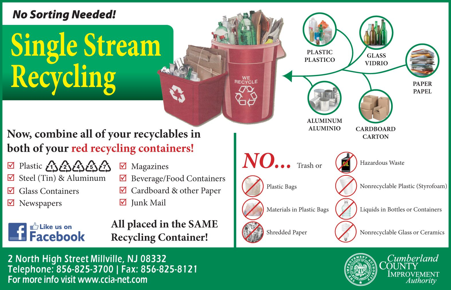 To all Cumberland County Residents: Click here to learn more about single stream recycling!