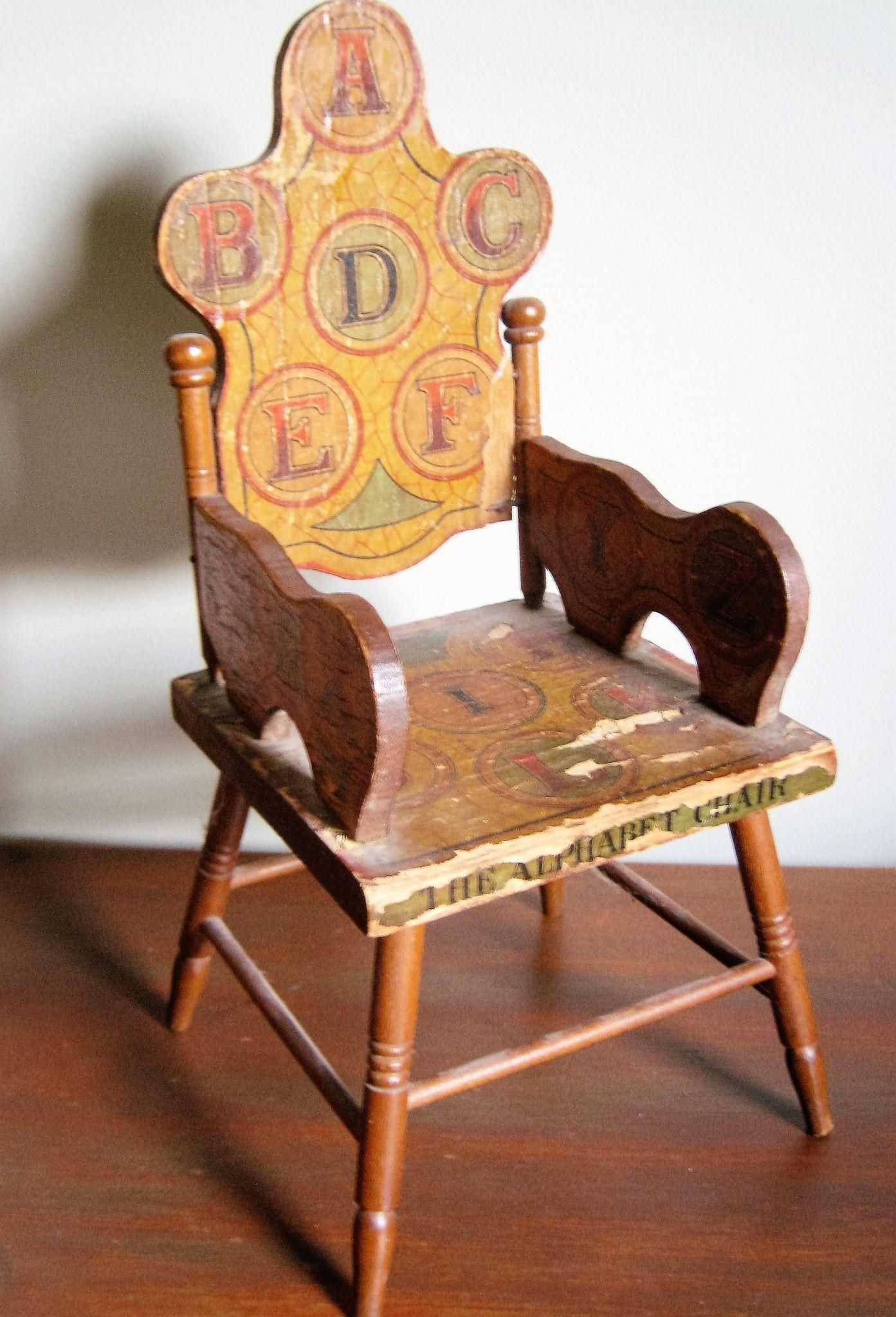 Miniküche Leiner Antique Alphabet Chair For Doll Abc Litho Vintage Chair