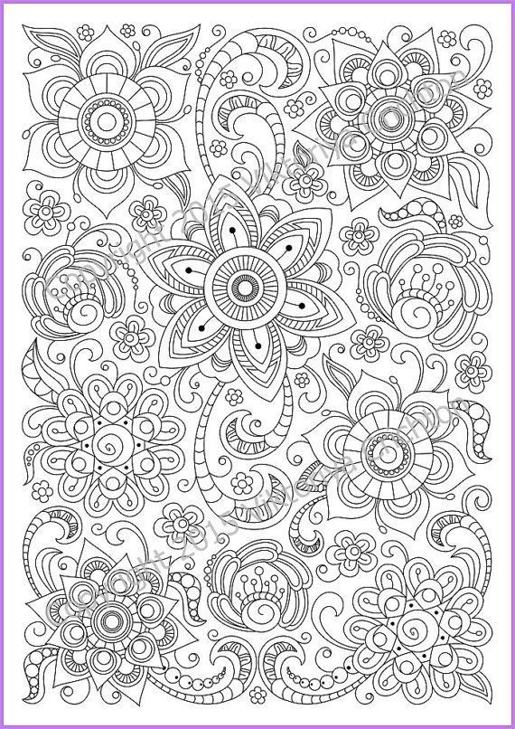 Сoloring page doodle flowers printable, zen doodle, pdf