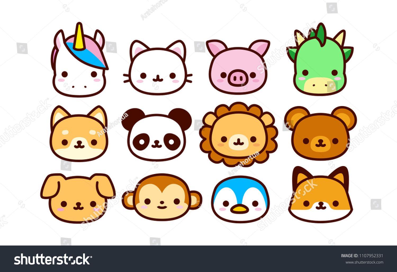Vector Set Of Cute Cartoon Animals Isolatedcute Set Vector Isolated Cute Cartoon Animals Cute Cartoon Drawings Cute Easy Drawings
