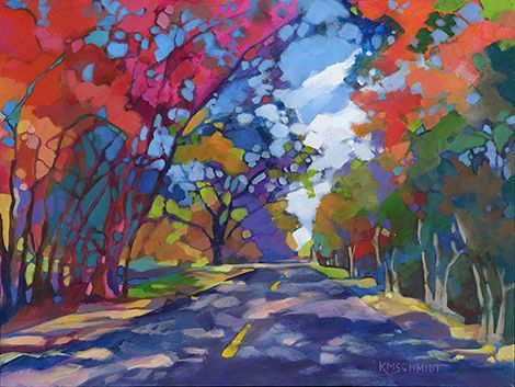 The Long Way Home fauve post-impressionist colorist original Louisiana landscape painting • acrylic country road colorful trees • Southern rural landscape tree illustration art by Louisiana artist painter:
