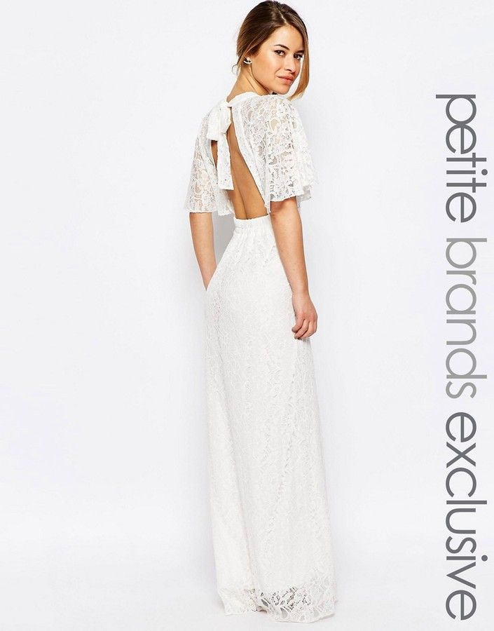 John Zack Petite All Over Lace Maxi Dress With Keyhole Front And ...