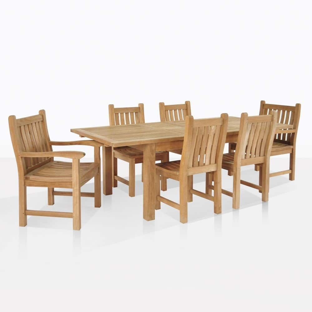 This Outdoor Dining Set By Teak Warehouse Includes An Extension