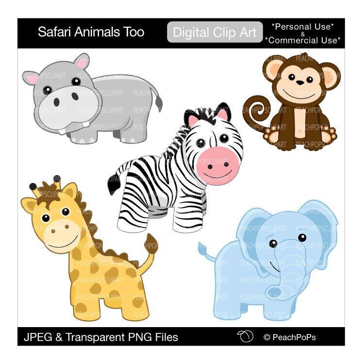 cute safari animals clip art digital clipart monkey zebra giraffe rh pinterest com hippo clip art free hippo clipart png