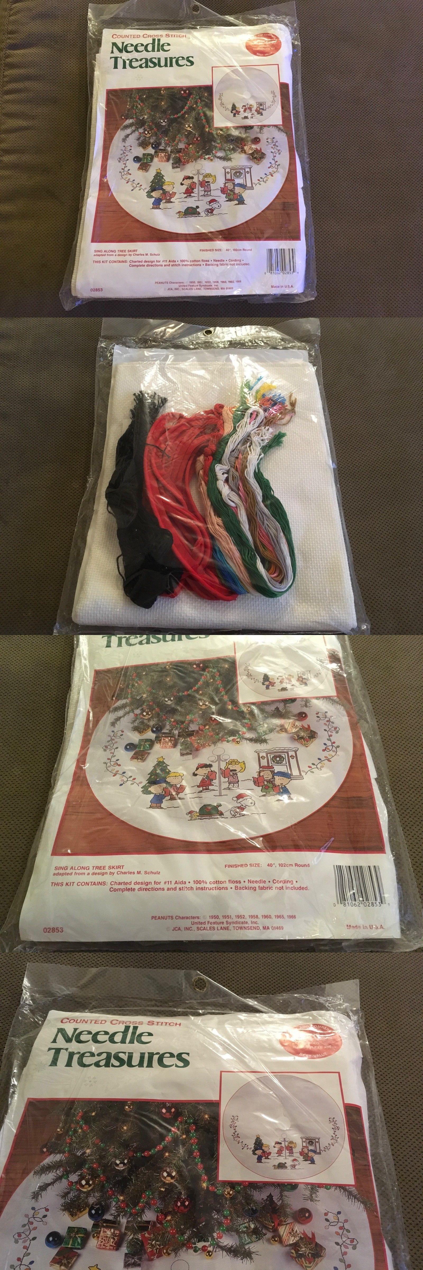 Cross Stitch Kits 34017 Peanuts Sing Along Christmas Tree Skirt Kit