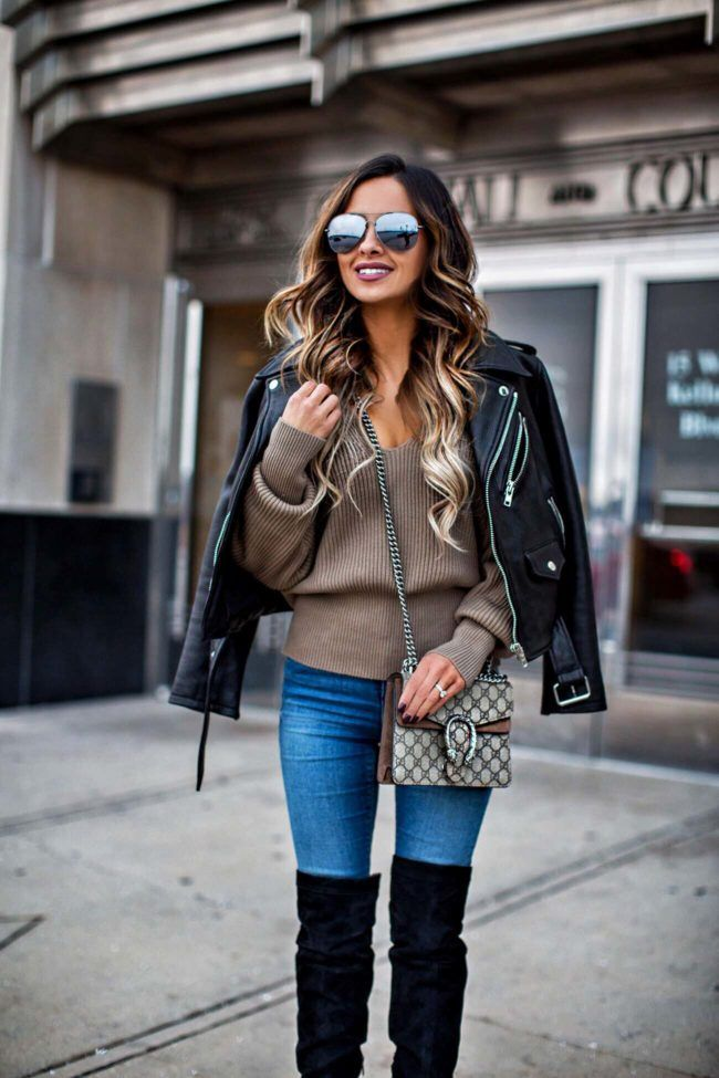 IN MY CART THIS WEEK - Free People V-Neck Sweater // Kate Spade Leather Jacket // Sam Edelman Over-The-Knee Boots // Asos Skinny Jeans // Gucci Dionysus Bag (mini size) // Quay Sunglasses January 23rd, 2017 by maria