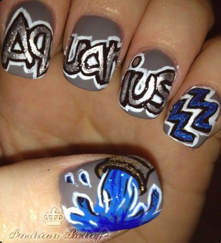 Aquarius Nail Art Nails Nail Art Nail Art Zodiac Signs