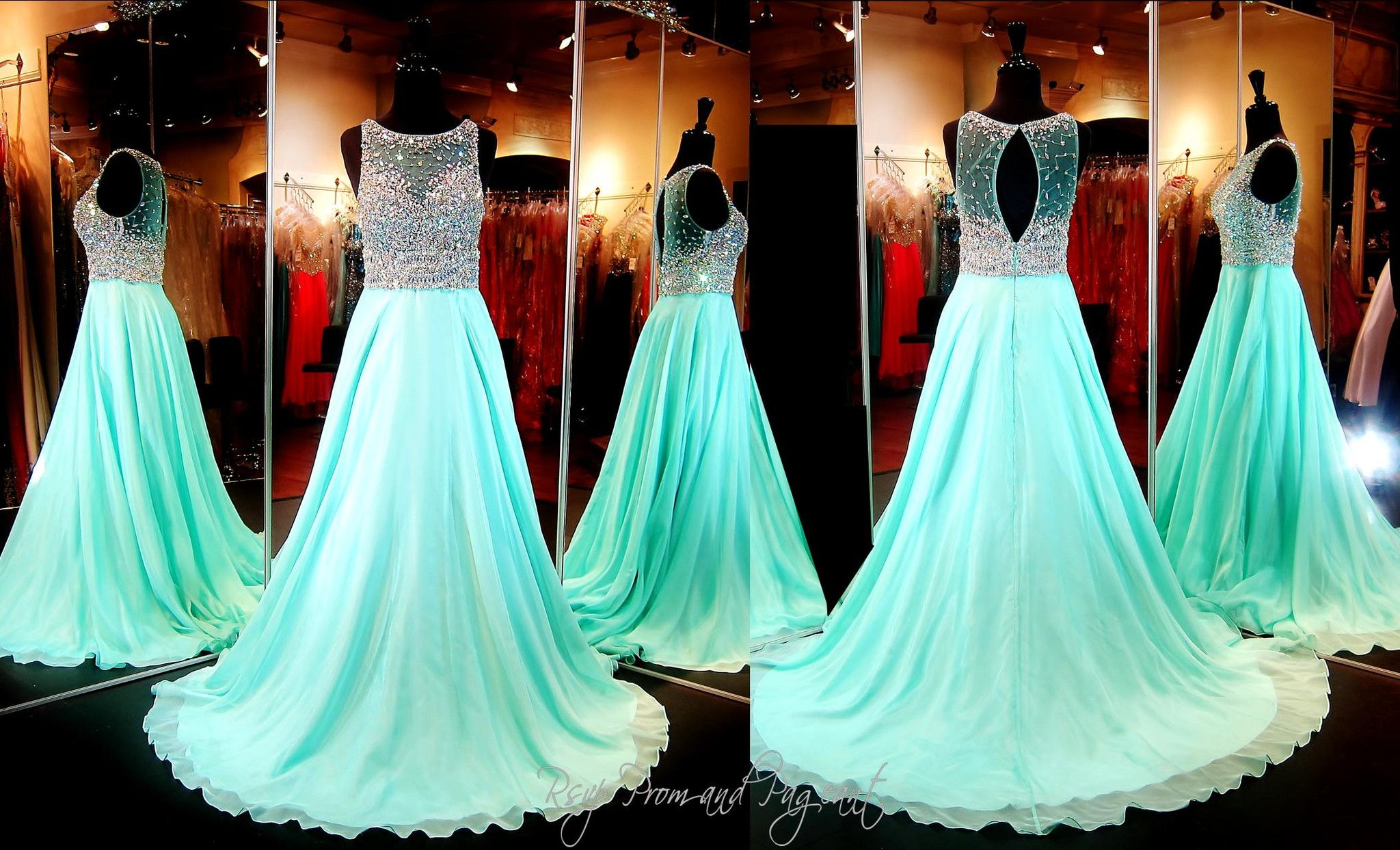 Mint A-Line Chiffon Prom or Pageant Dress-Fully Beaded Mesh Bodice ...