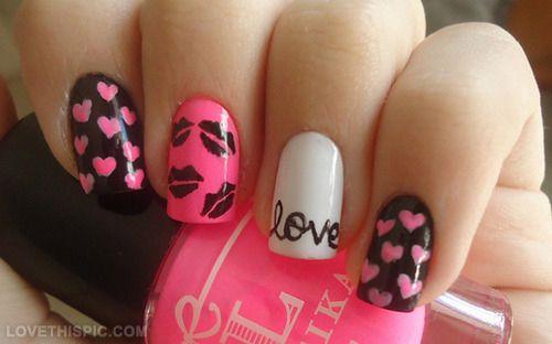 Kiss Love Nails Love Kiss Nails Heart Nail Pretty Nails Nail Ideas