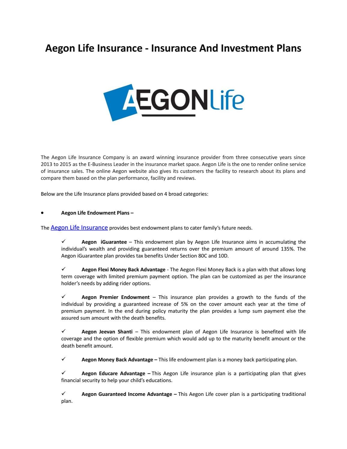 Aegon Secures Your Future Life Insurance Companies Insurance