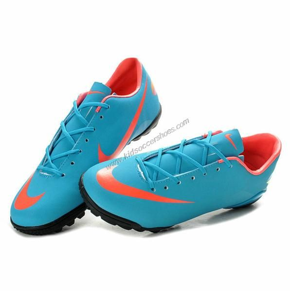 Football Training Shoes Mercurial Victory III TF Blue Pink Youth Wide Soccer  Cleats