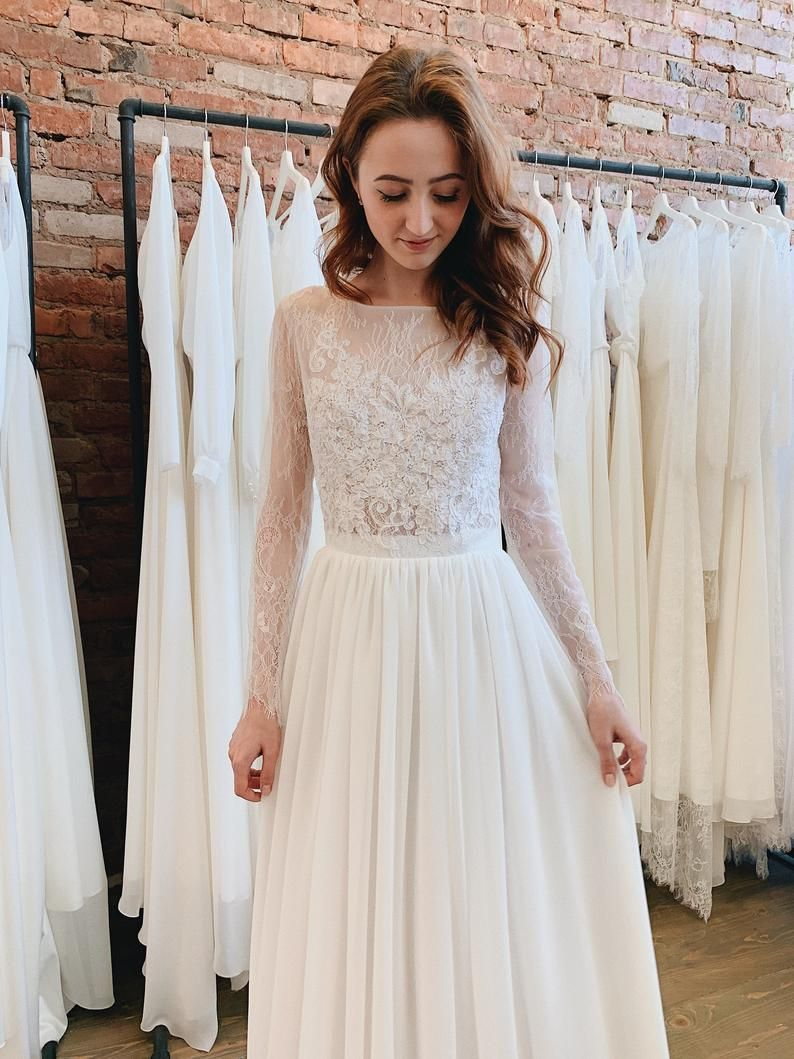 Long Sleeve Wedding Dress Simple Chiffon Wedding Dress Lace Etsy Long Sleeve Wedding Dress Simple Chiffon Wedding Dresses Lace Etsy Wedding Dress [ 1059 x 794 Pixel ]