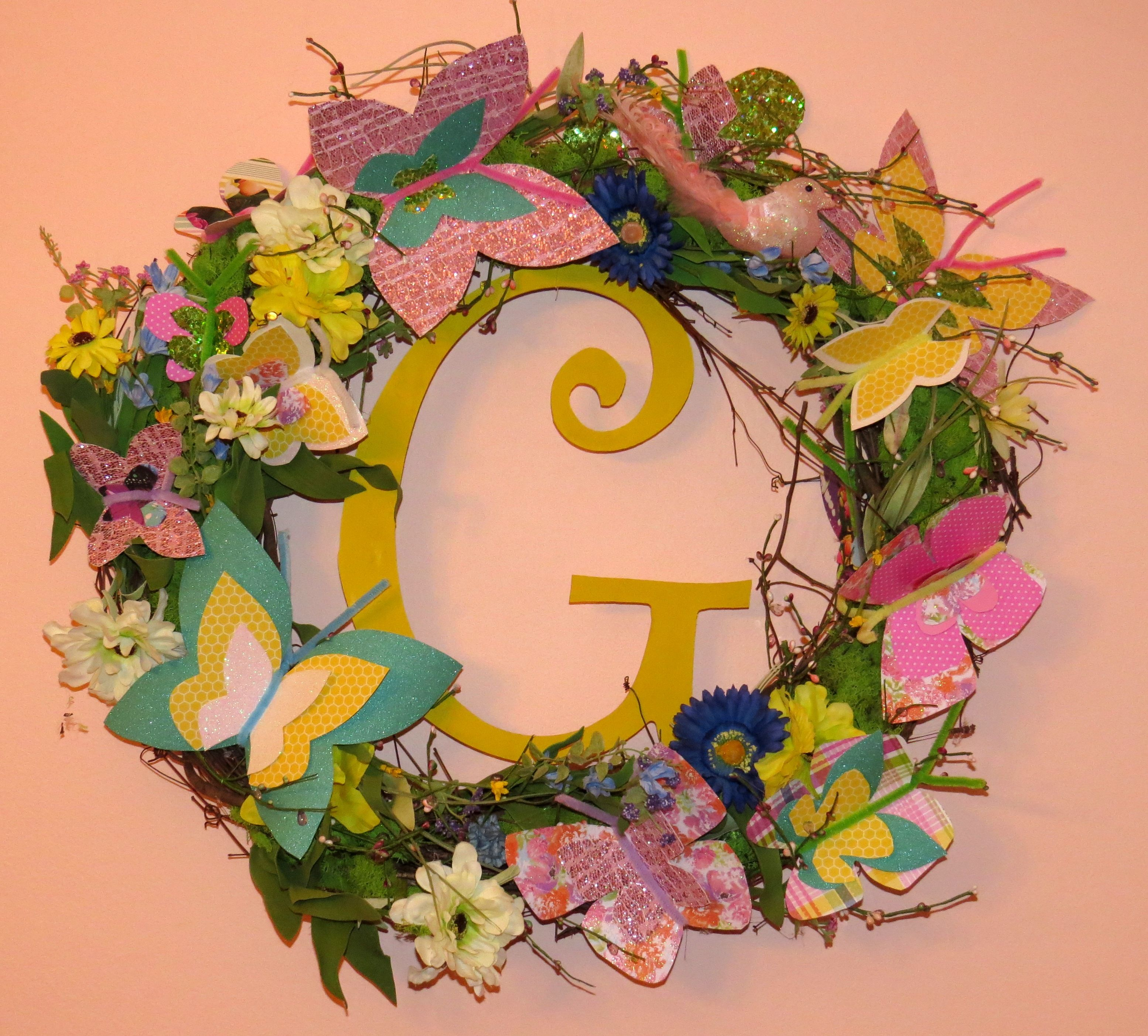 Spring wreath decorated with handmade butterflies