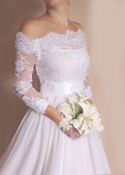 Plus Size Bridal Off-Shoulder Lace wedding jacket wrap custom made shrug,cover up bridal bolero
