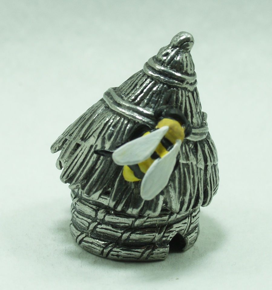 Old Skep French skep style beehive & hand painted Bee collectors pewter thimble