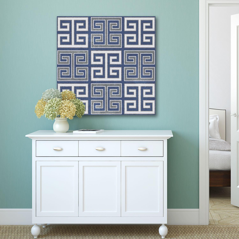 IHD Studio 'Greek Key' Blue/ Canvas Wood Wall Art