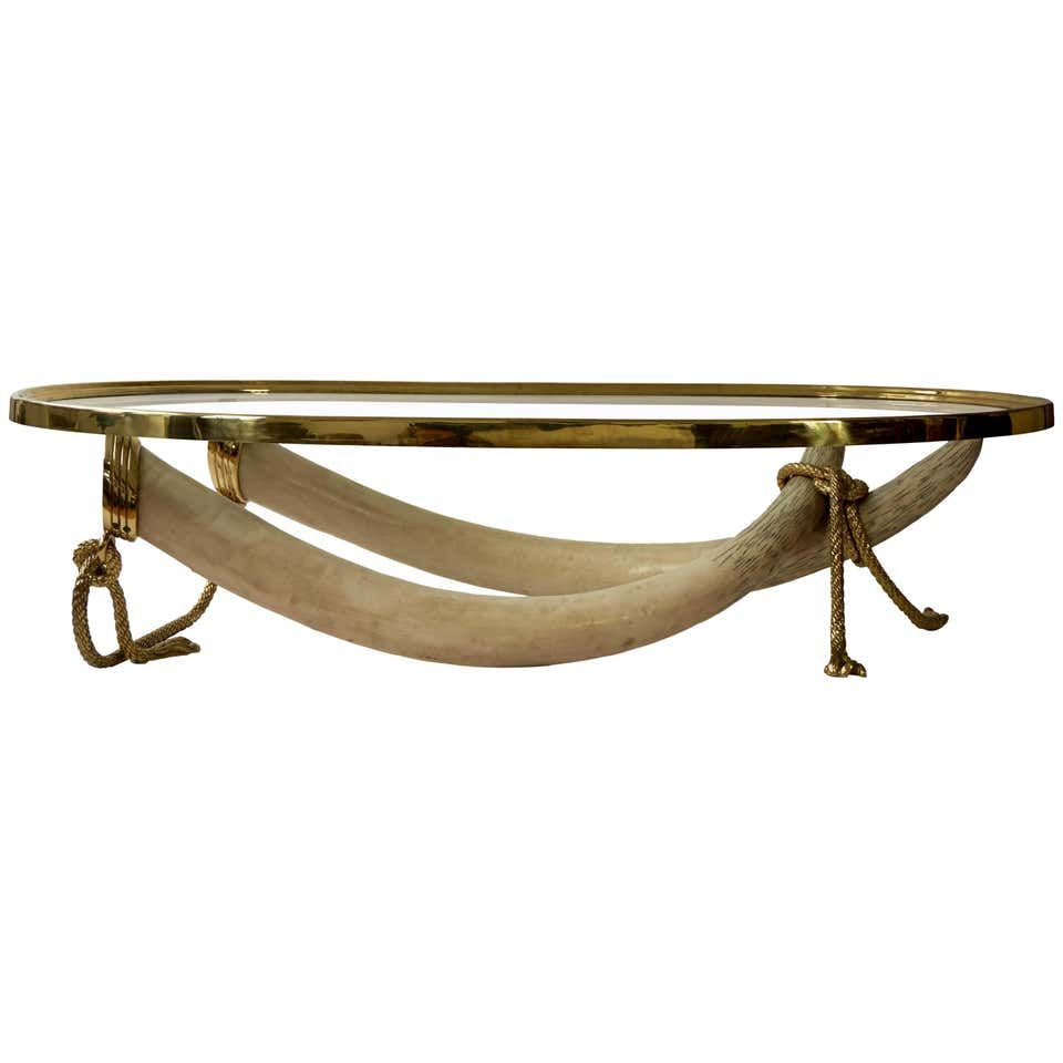Large Glass And Brass Elephant Tusk Base Coffee Table By Valenti 1970s Glass Top Coffee Table Metal Cocktail Table Brass Coffee Table [ 960 x 960 Pixel ]