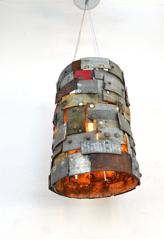 Wine Barrel Ring Pendant Light Reliquary Made From Salvaged