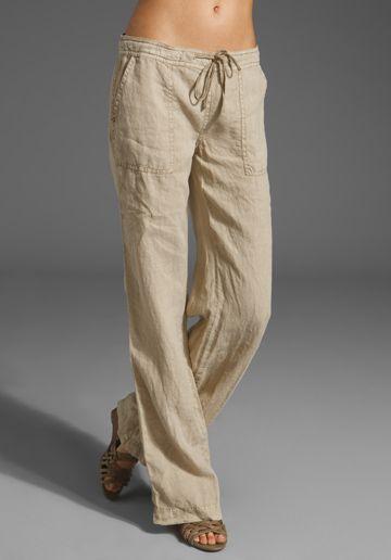Photo of Michael Stars Linen Drawstring Pant in Khaki from Revolve.com