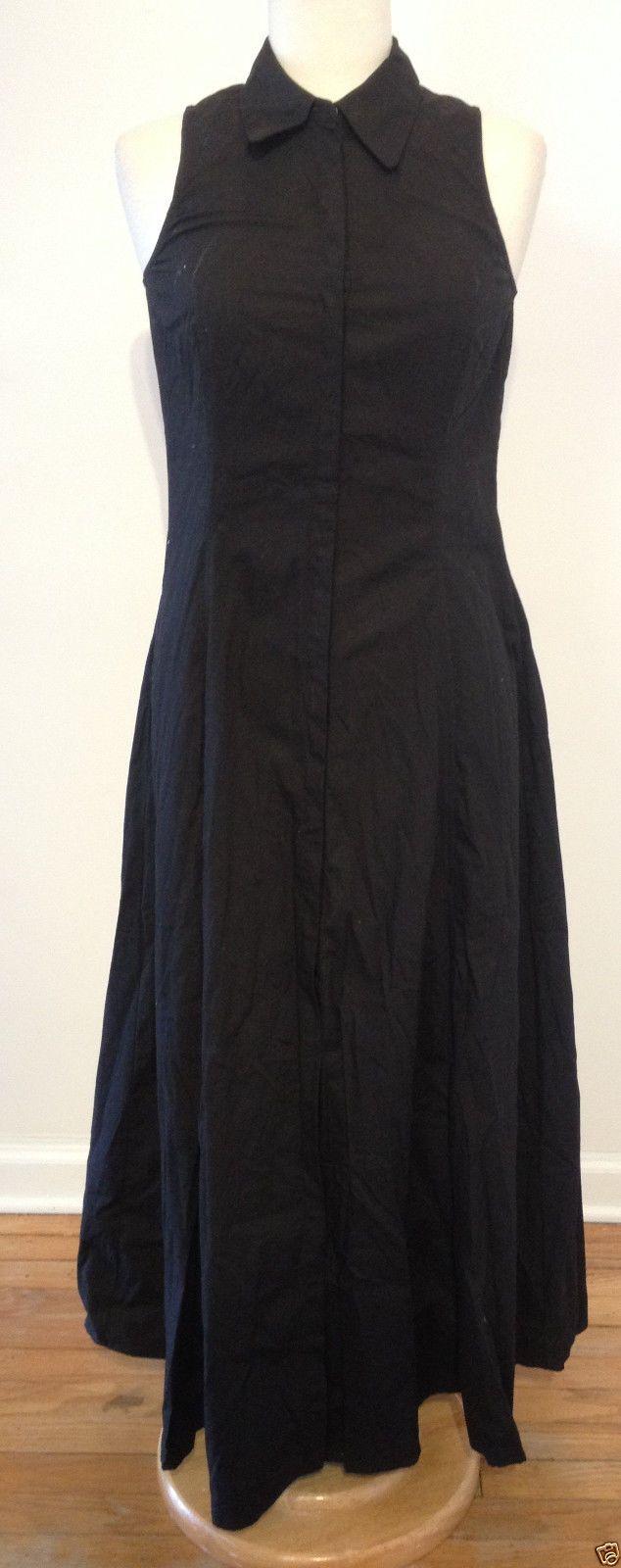 Newport news black cotton sleeveless snap front maxi shirt long