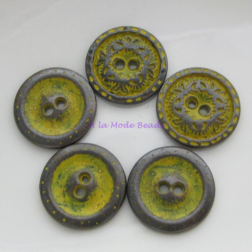 5 Gunmetal With Patina Round Buttons 18MM Rustic Carved Yellow Patina Buttons by AlaModeBeads on Etsy