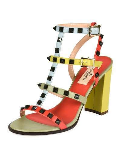 Valentino Lacquered Rockstud Chunky-Heel Sandal, Coral/Army Avocado - $1,095.00