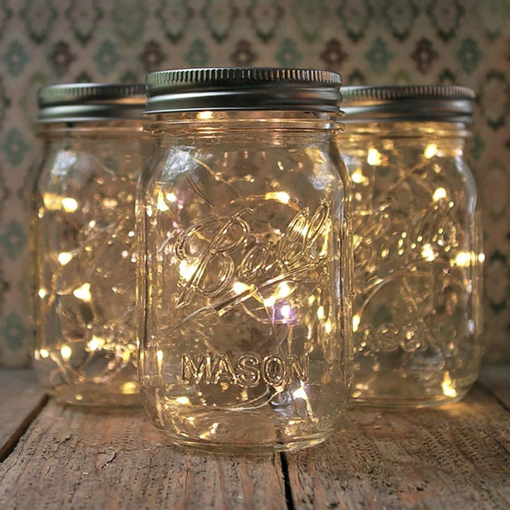 diy outdoor wedding lighting ideas%0A Mason Jar Fairy Lights  Pint Small Mouth  Warm White  Set of