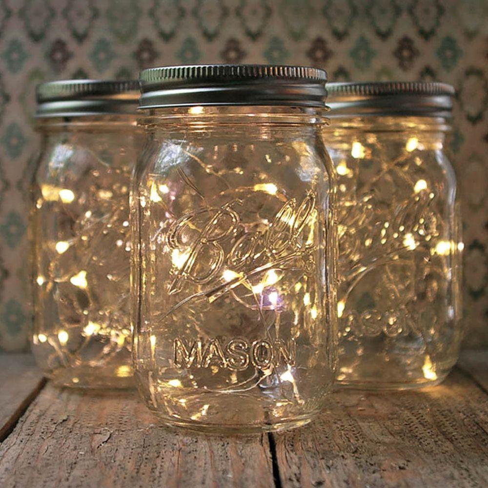 pinterest mason jar bridal shower favors%0A Mason Jar Fairy Lights  Pint Small Mouth  Warm White  Set of