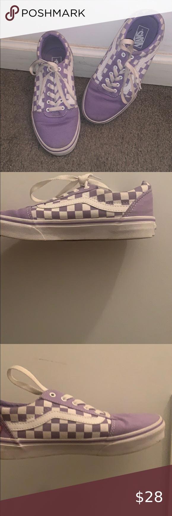 Old Skool Purple Checkered Vans