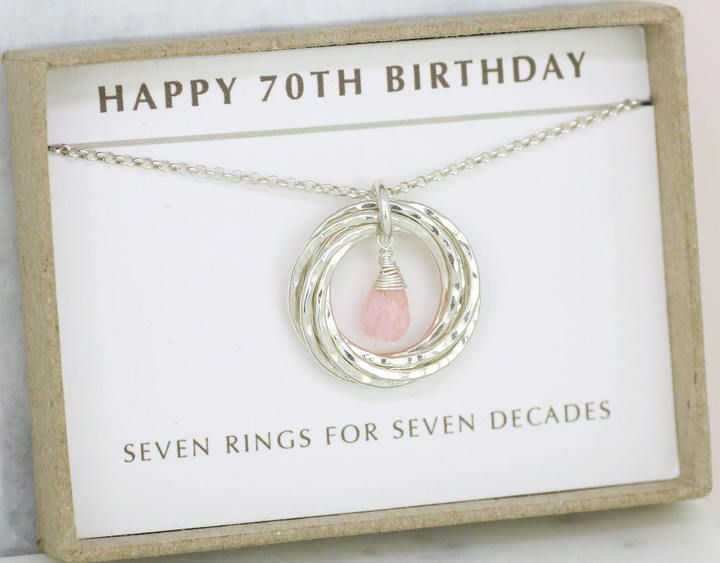 Etsy 70th Birthday Gift Idea Pink Opal Necklace October Birthstone Jewelry For Mom