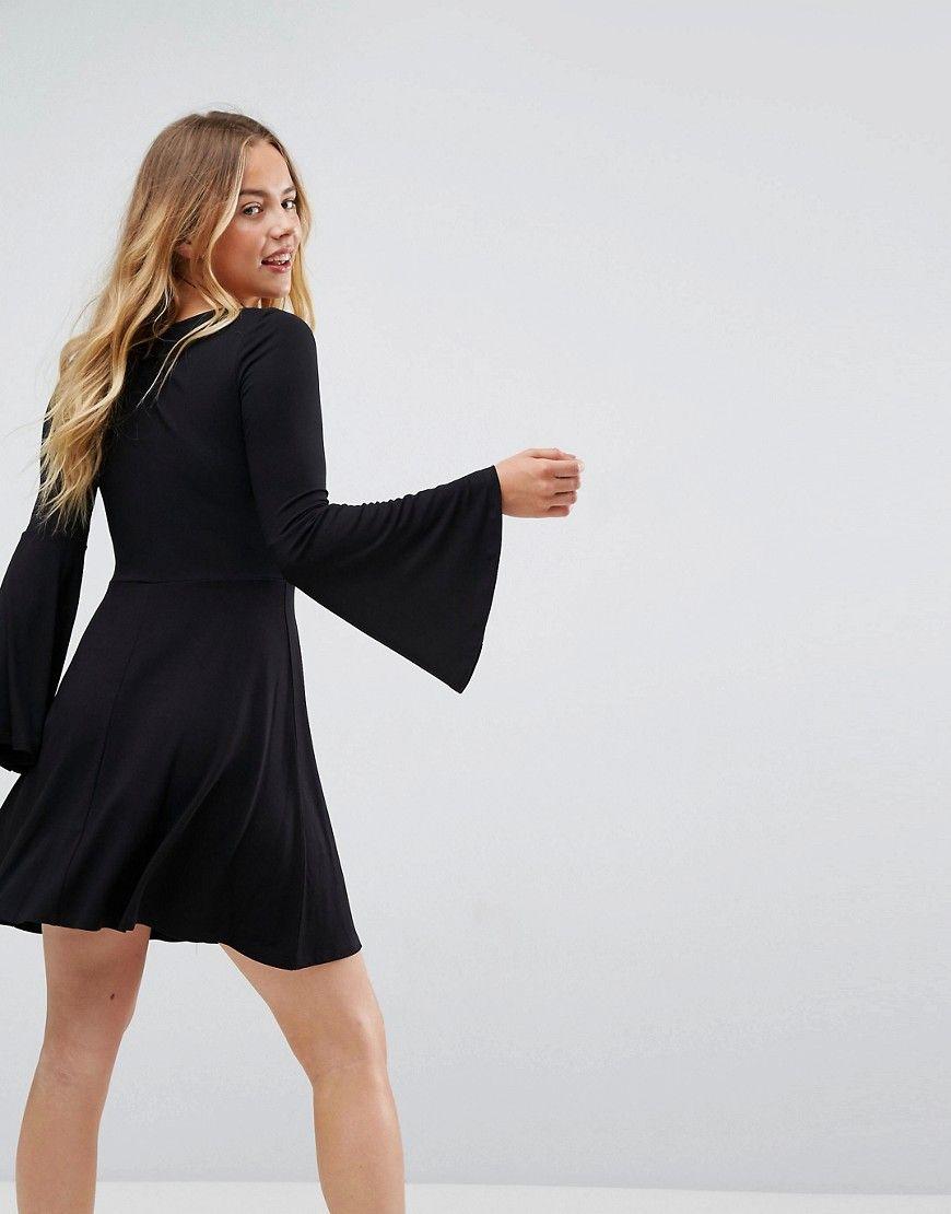 Asos v neck mini skater dress with trumpet sleeves black