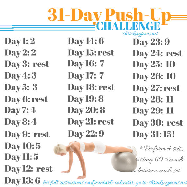 31 Day Push Up Challenge Free Printable Monthly Workout Calendar Shrinkingjeans Exercise Workout Push Up Challenge Workout Calendar Month Workout