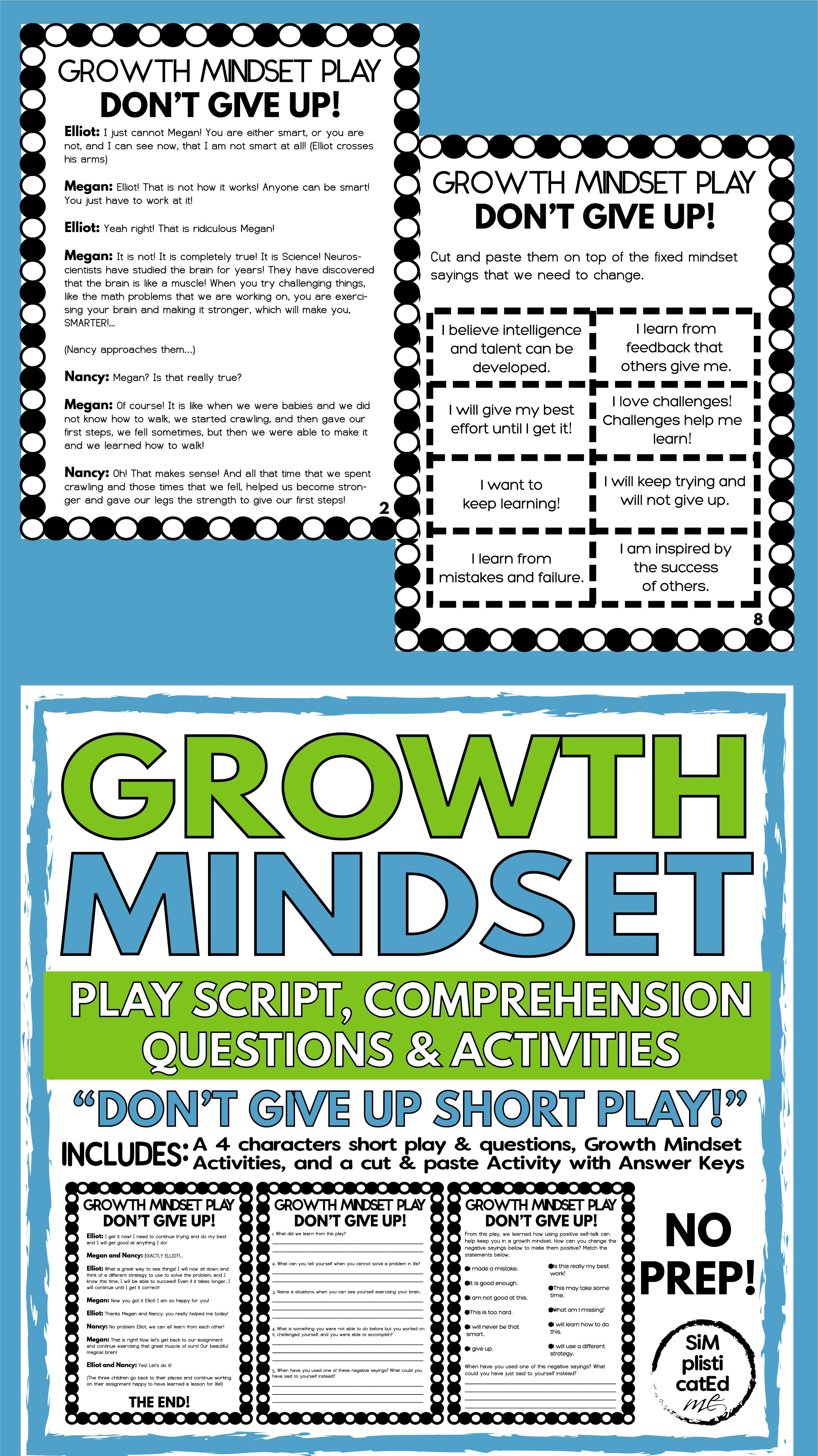 Growth Mindset Short Script Play Comprehension Questions