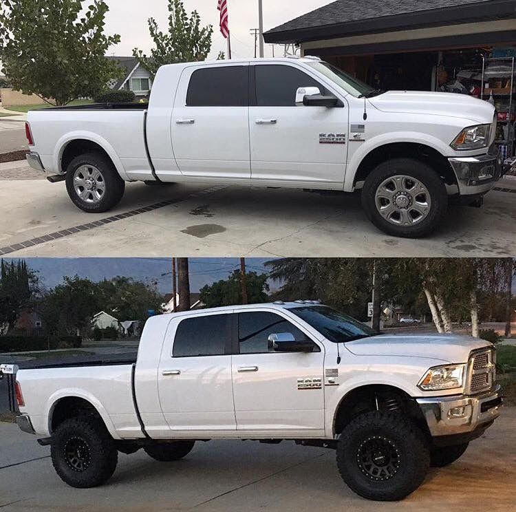 2009 Dodge Mega Cab Cummins Custom: White Ram Cummins Before And After Lift And Method Wheels