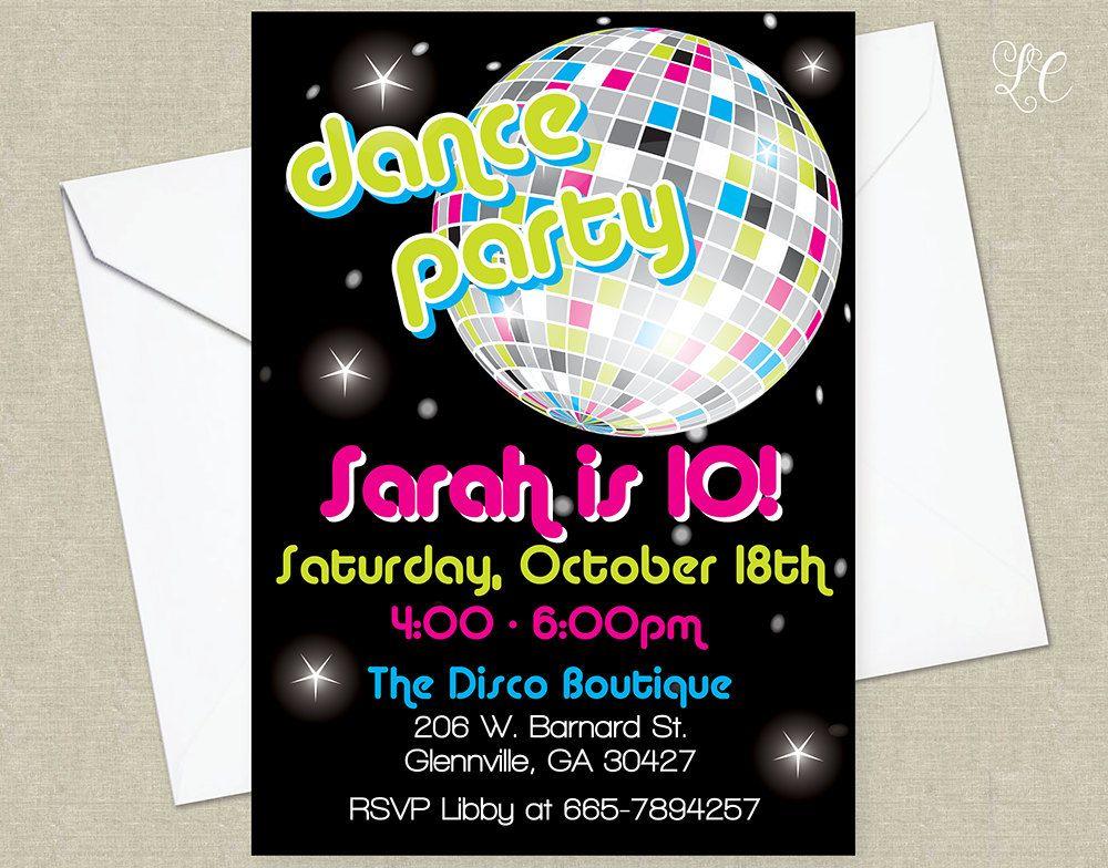 Disco Birthday Party Invitation Dance by littlecelebrations ...