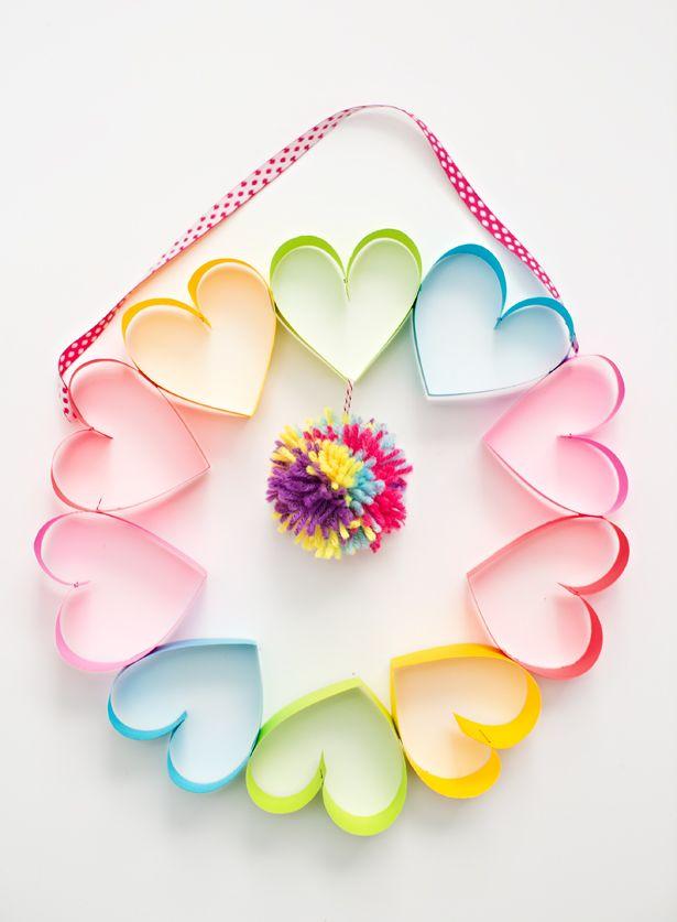 diy rainbow paper heart pom pom wreath valentine s day valentine rh pinterest com