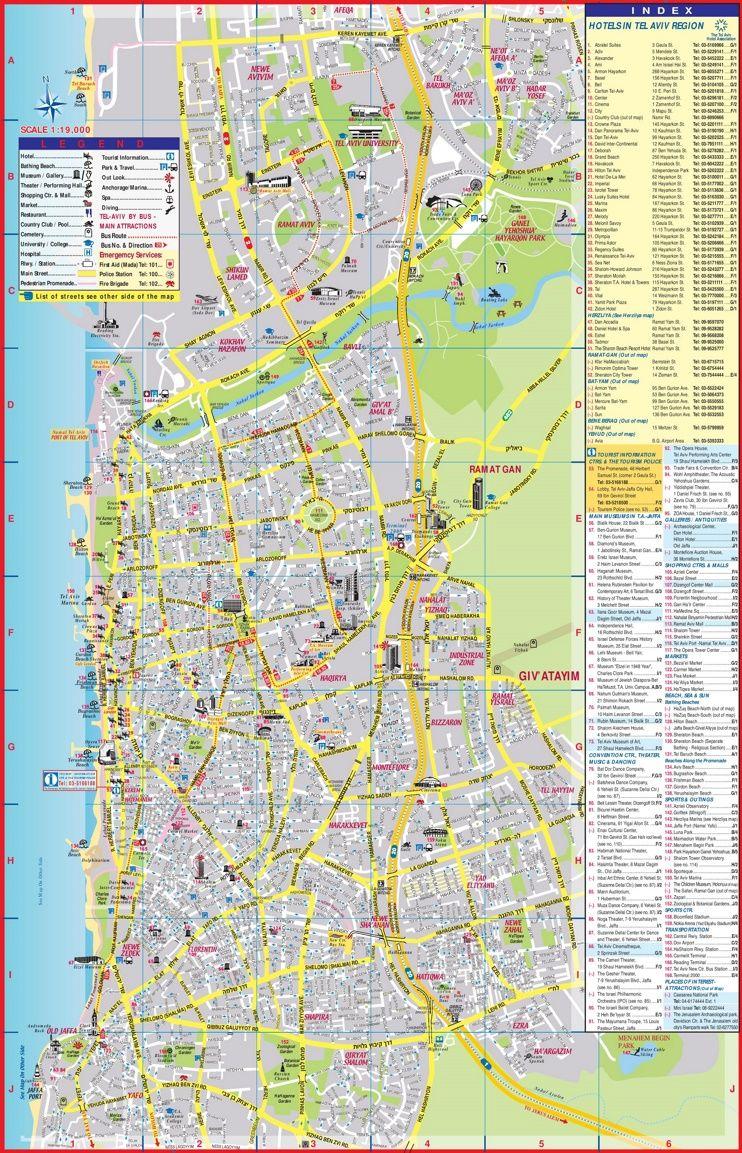 Tel Aviv tourist attractions map Maps Pinterest Tel aviv